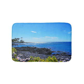 Tropical Hawaiian Island Rocky Beach Bath Mat