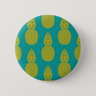 Tropical Hawaiian Pineapple Pattern Round Button