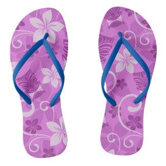 Tropical Hawaiian Pink and Purple Tiki Flip Flops