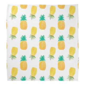 Tropical Hawaiian Watercolor Pineapple Patterned Bandana