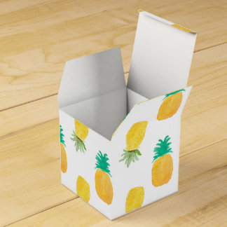 Tropical Hawaiian Watercolor Pineapple Patterned Favor Box