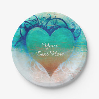 Tropical Heart Blue Grunge Beach Party 7 Inch Paper Plate