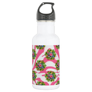 Tropical hibiscus and exotic pink zebra stripes 532 ml water bottle