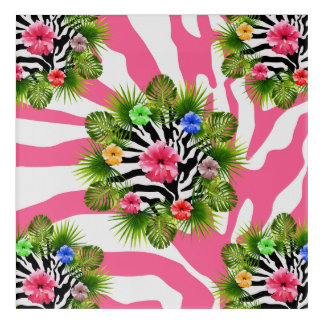 Tropical hibiscus and exotic pink zebra stripes acrylic wall art