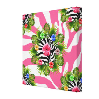 Tropical hibiscus and exotic pink zebra stripes canvas print
