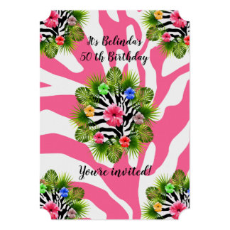 Tropical hibiscus and exotic pink zebra stripes card