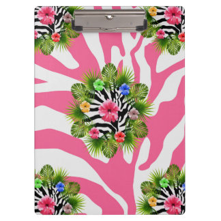 Tropical hibiscus and exotic pink zebra stripes clipboard