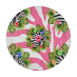 Tropical hibiscus and exotic pink zebra stripes cutting board