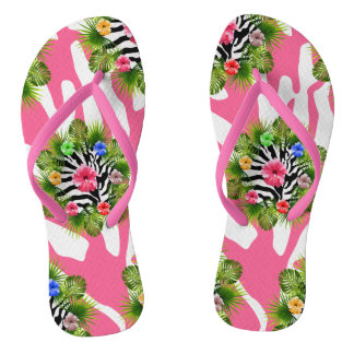 Tropical hibiscus and exotic pink zebra stripes flip flops