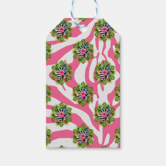 Tropical hibiscus and exotic pink zebra stripes gift tags
