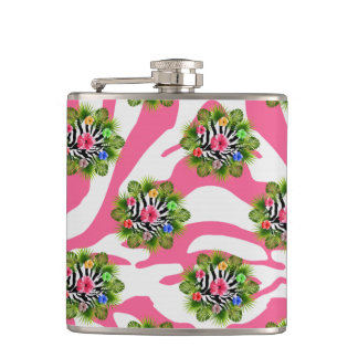 Tropical hibiscus and exotic pink zebra stripes hip flask