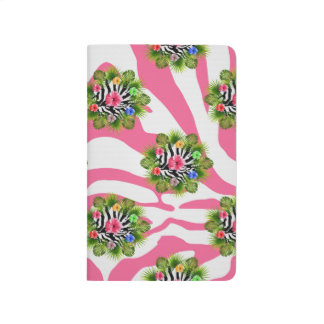 Tropical hibiscus and exotic pink zebra stripes journal
