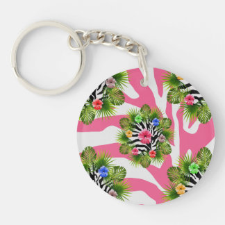 Tropical hibiscus and exotic pink zebra stripes keychain