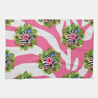 Tropical hibiscus and exotic pink zebra stripes kitchen towel