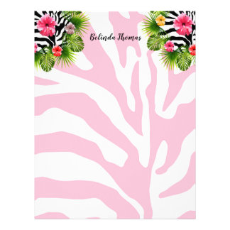 Tropical hibiscus and exotic pink zebra stripes letterhead