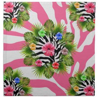 Tropical hibiscus and exotic pink zebra stripes napkin