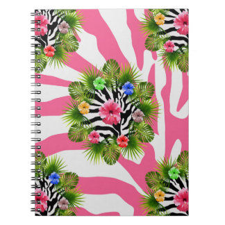 Tropical hibiscus and exotic pink zebra stripes notebooks