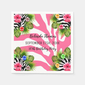 Tropical hibiscus and exotic pink zebra stripes paper napkin