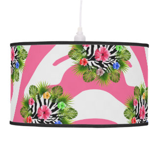 Tropical hibiscus and exotic pink zebra stripes pendant lamp
