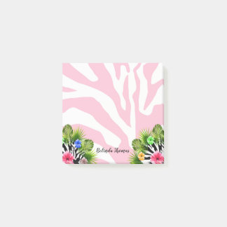 Tropical hibiscus and exotic pink zebra stripes post-it notes