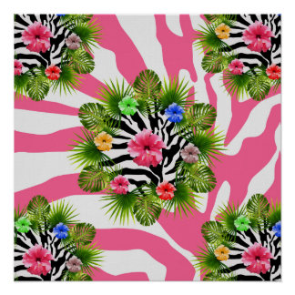 Tropical hibiscus and exotic pink zebra stripes poster