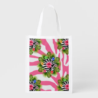 Tropical hibiscus and exotic pink zebra stripes reusable grocery bag