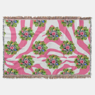 Tropical hibiscus and exotic pink zebra stripes throw blanket
