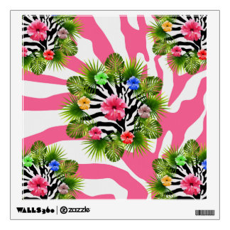 Tropical hibiscus and exotic pink zebra stripes wall sticker