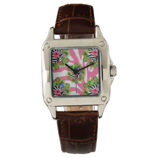 Tropical hibiscus and exotic pink zebra stripes watch