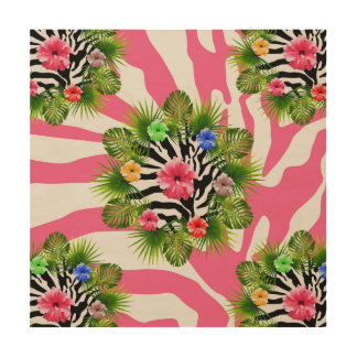 Tropical hibiscus and exotic pink zebra stripes wood wall decor