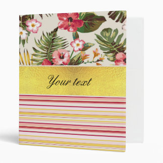 Tropical Hibiscus and Stripes Binders