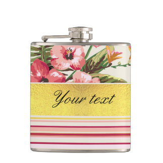 Tropical Hibiscus and Stripes Flasks