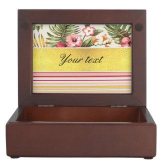 Tropical Hibiscus and Stripes Keepsake Box