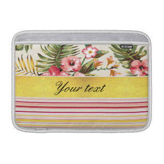 Tropical Hibiscus and Stripes MacBook Sleeves