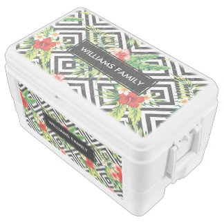Tropical Hibiscus & Black Geometric Pattern Chest Cooler