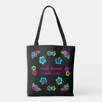 Tropical Hibiscus Black - Tote Bag
