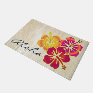 Tropical Hibiscus blooms trio gradients colored Doormat