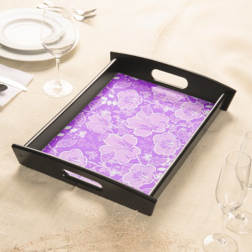 Tropical Hibiscus & Butterflies Shades Lt Purple Food Trays