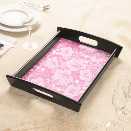 Tropical Hibiscus & Butterflies Shades of Pink Serving Trays