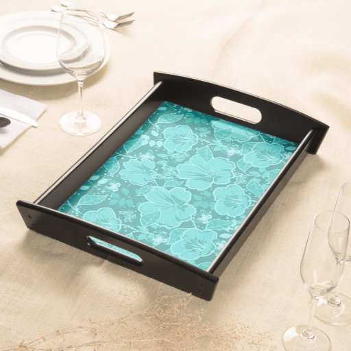 Tropical Hibiscus & Butterflies Shades of Turquois Food Trays
