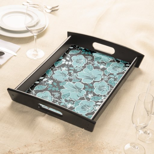 Tropical Hibiscus & Butterflies Turquoise & Black Service Tray