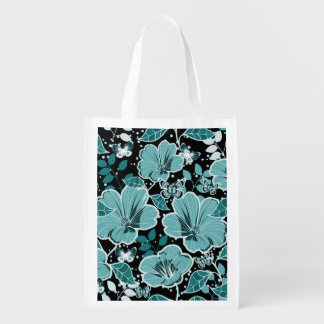 Tropical Hibiscus & Butterflies Turquoise & Black Reusable Grocery Bag