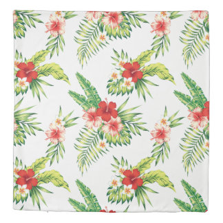 Tropical Hibiscus Colorful Flowers Pattern Duvet Cover