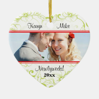 Tropical Hibiscus Couple Photo Heart Ornament