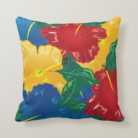 Tropical Hibiscus Exotic Flowers Throw Pillow