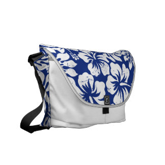 Tropical hibiscus floral messenger bag