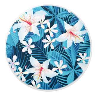 Tropical Hibiscus Floral Pattern 2 Ceramic Knob