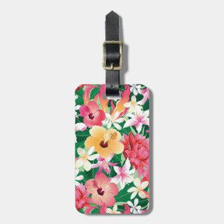 Tropical Hibiscus Floral Pattern Bag Tag
