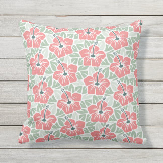 Tropical Hibiscus Floral Pattern Throw Pillow