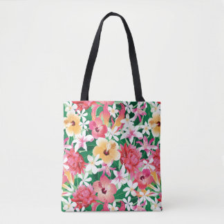 Tropical Hibiscus Floral Pattern Tote Bag